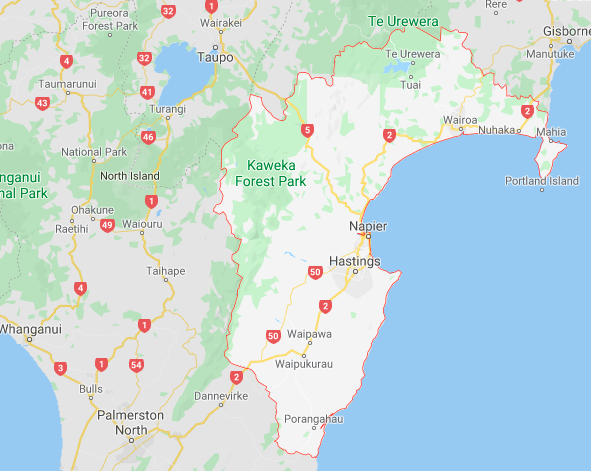 a screenshot of hawkes bay map from google maps